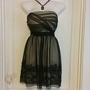 Sheer black and beige party dress